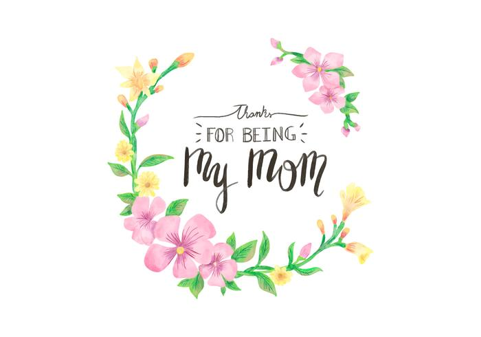 Cute Vector Floral Frame With Lettering for Mother's Day Holiday