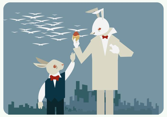 Easter Bunnies With Hipster Style Vector