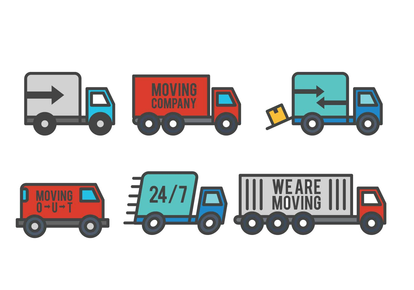 Moving Van Icon Set Download Free Vector Art Stock Graphics Images