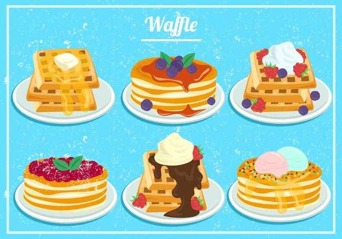 Strawberry And Blueberry Honey Waffles In Watercolor vector