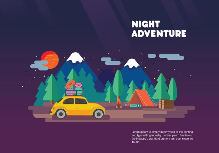 Night Adventure Carpool Vacation Vector Flat Illustration