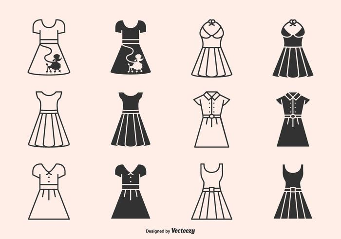 Retro 50s Dresses And Skirts Silhouette Vector Icons