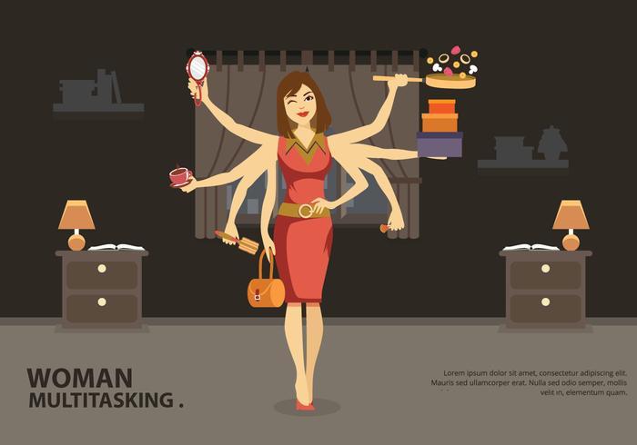 Multitasking Jobs Women Vector Illustration