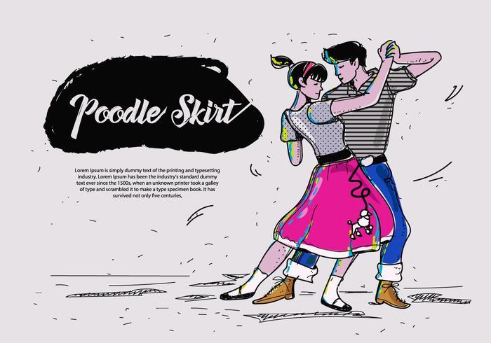 Poodle Skirt Dance Hand Drawn Vector Illustration