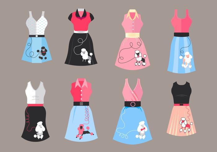 Poodle Skirt Costume Vectors