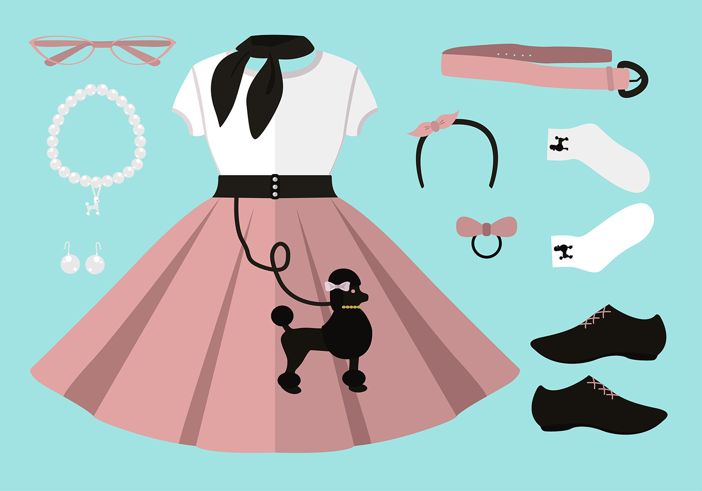 50s Poodle Skirt Outfit Set Free Vector
