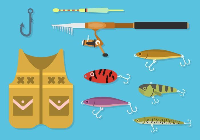 Flat Fishing Element Vectors