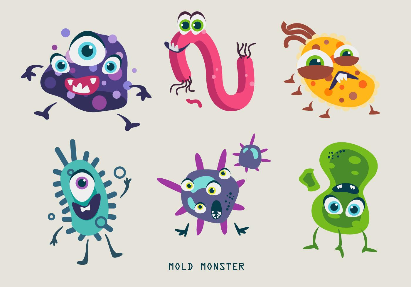 Vector Character Design Illustrator : Mold bacteria monster character vector illustration