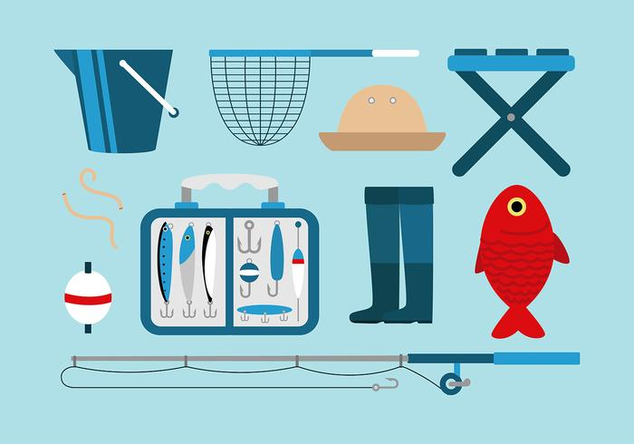 Fishing Tackle Set Free Vector