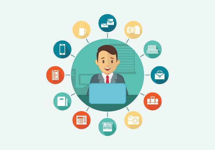 Multitasking Office Worker Vector Flat Illustration