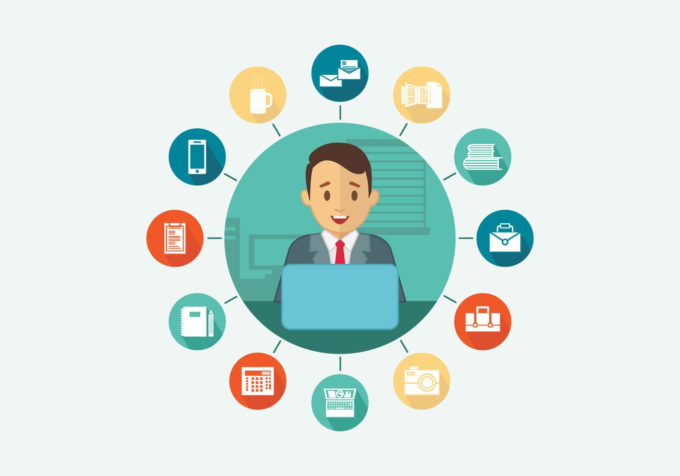 Multitasking Office Worker Vector Flat Illustration ...
