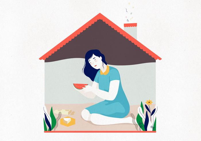 Woman House Illustration
