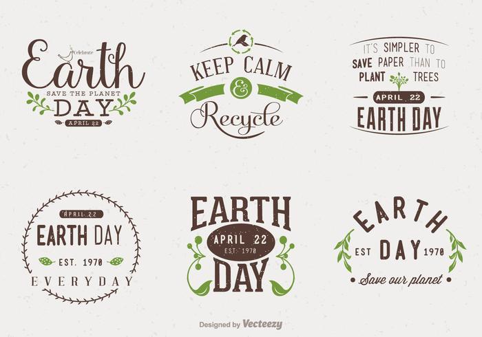 Diseños tipográficos del diseño del Día de la Tierra vector