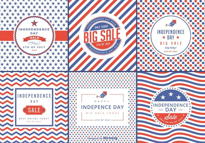 Independence Day Sale Vector Etiketter