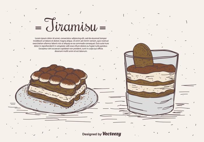 Hand Drawn Tiramisu Vector Background