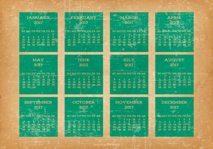 Calendário velho do Desktop do estilo 2017 do Grunge