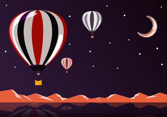 Hot Air Balloon Night Free Vector