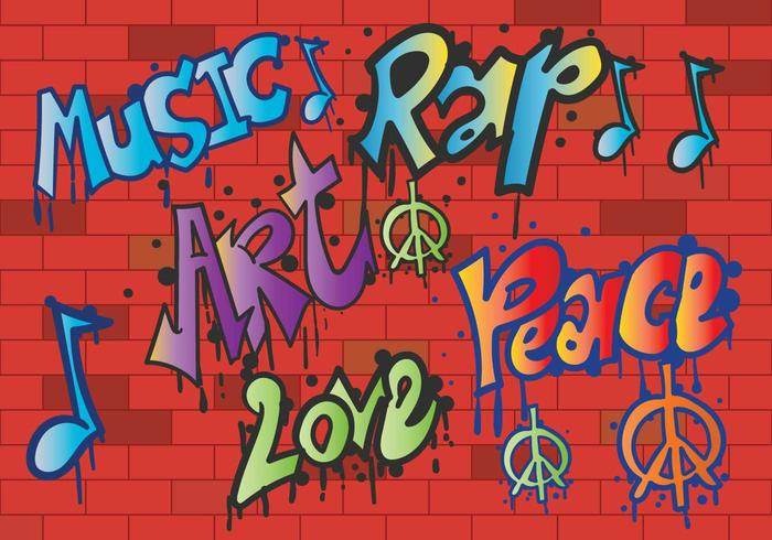 Grafiti peace and love vector