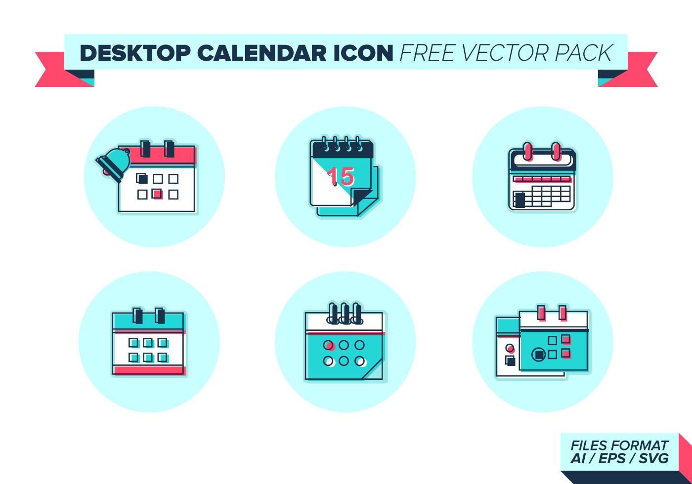 Calendar Design Free Vector : Desktop calendar icon vector pack download free