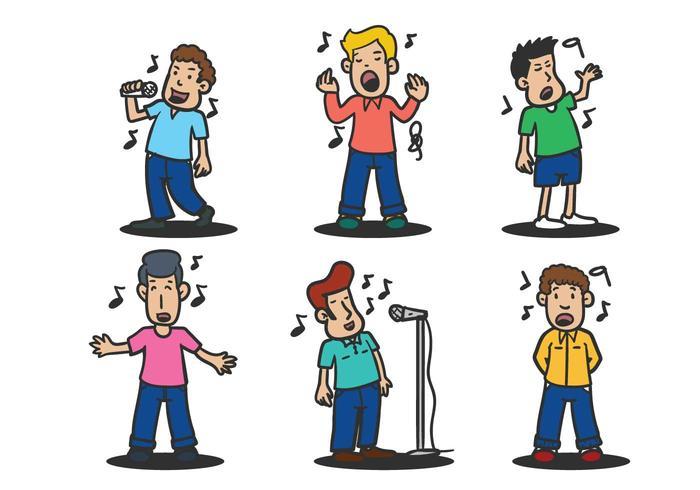 Les gens qui chantent l'ensemble d'illustration vectorielle