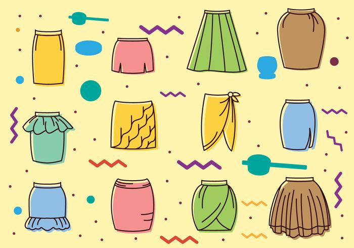 Vintage Skirts Icons vector