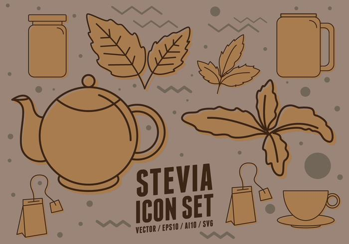 Iconos del suplemento dietético de Stevia vector