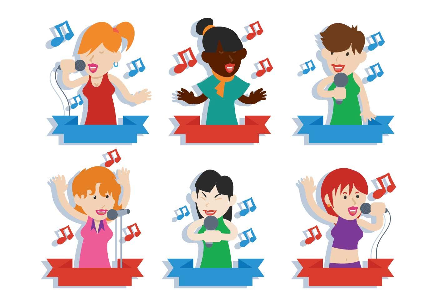 People Singing Vector Illustration Set