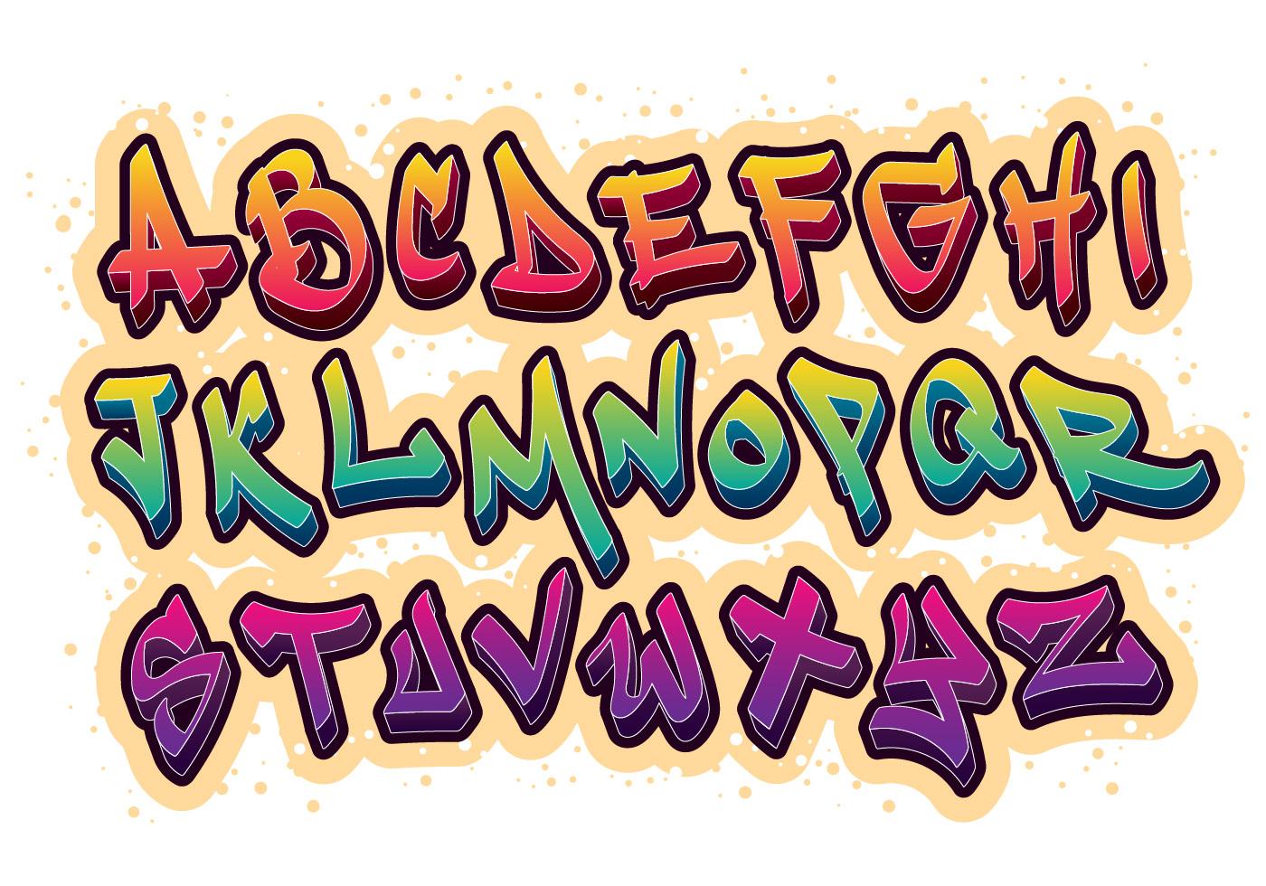 Grafiti font alphabet vector download free vector art stock graphics images