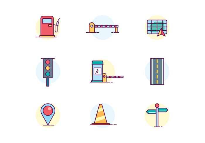Icônes de trafic et de routes