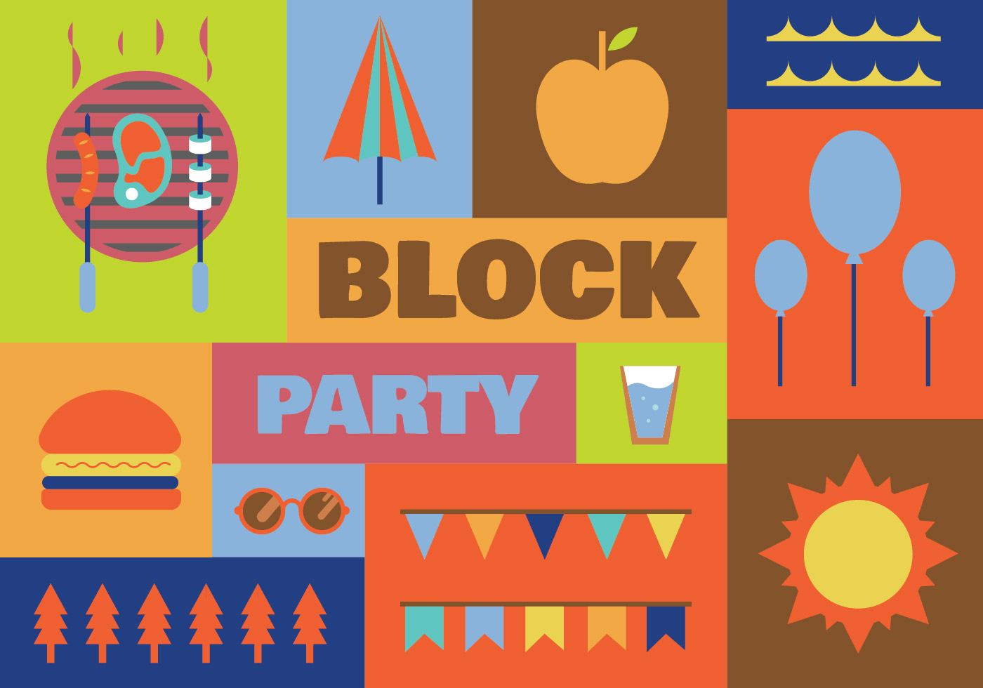 Block party vector icons - Download Free Vectors, Clipart ...