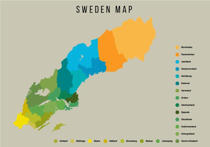 Suecia Mapa Vector Ilustración