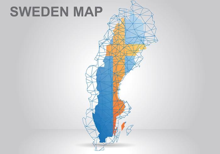 Suécia Mapa Vector Background
