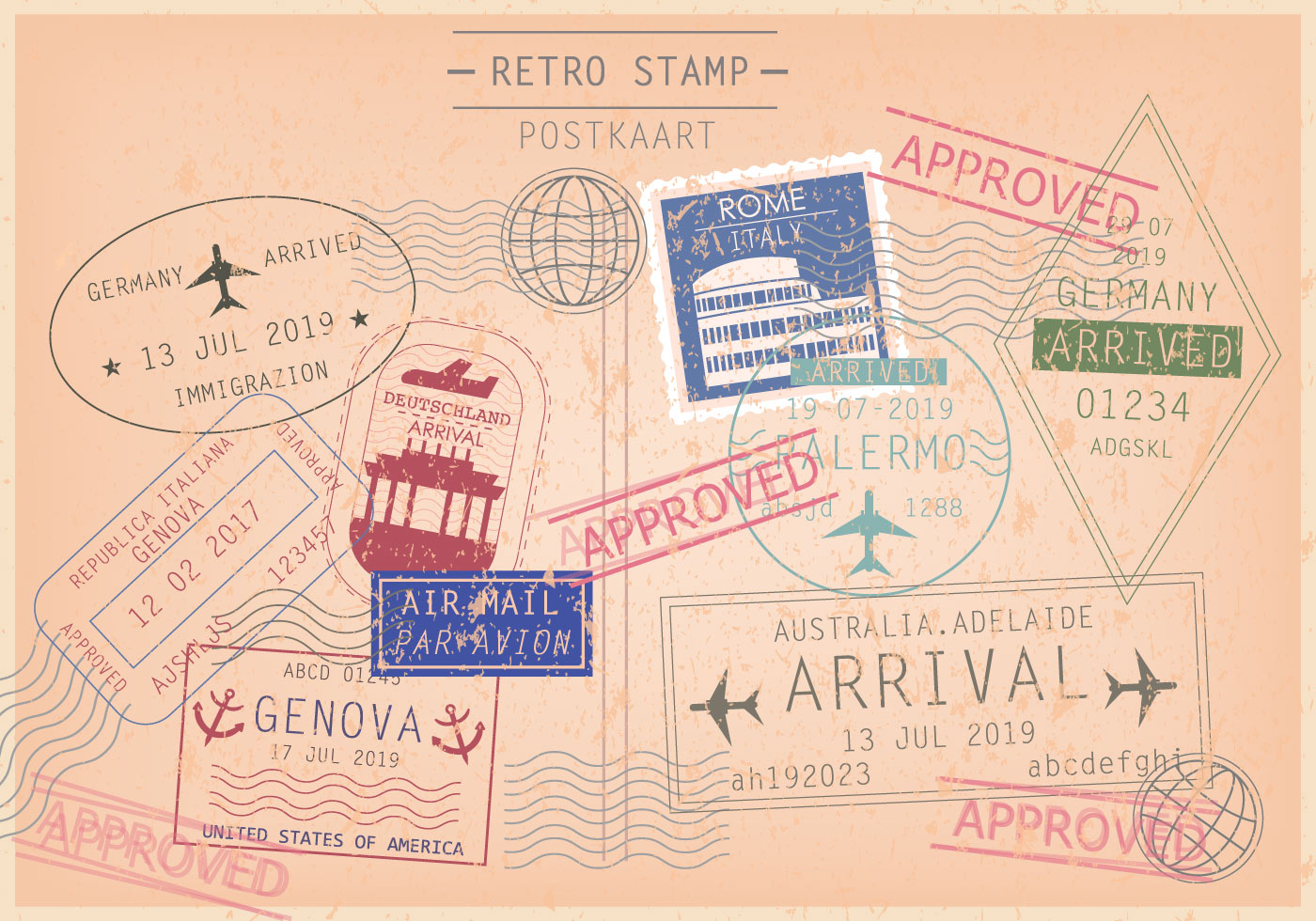 Cachet And Postcard Stamp Vectors Download Free Vector