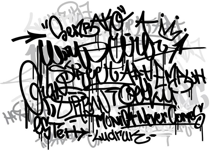 Vector Graffiti tags monocrome background