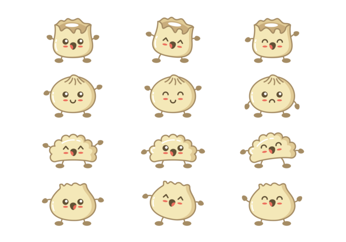 Dumplings Cartoons Vector