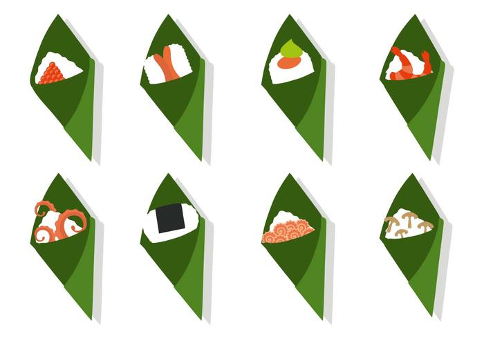 Free Temaki Sushi With Different Topping Vector