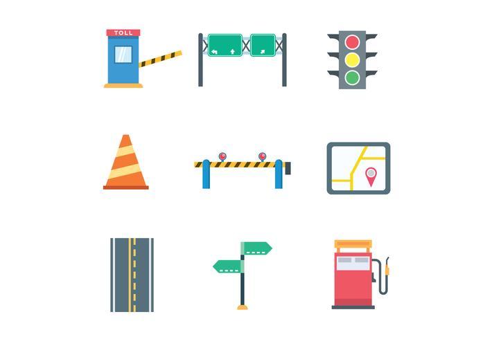 Ícones coloridos do tráfego vetor