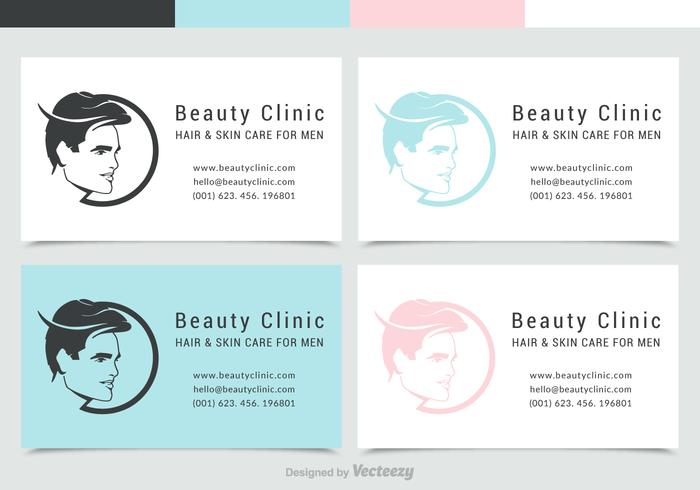 Man Face Silhouette Business Card With Logo Vector Set