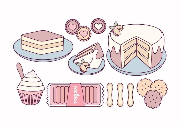 Vector Tiramisu and Sweets Illustration