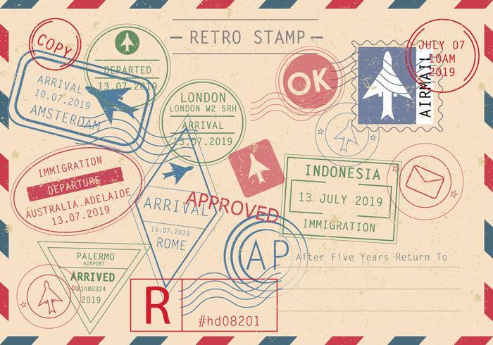 Set von Retro-Briefmarken-Vektoren