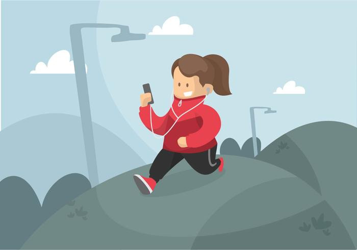 Runner in Windbreaker Illustration