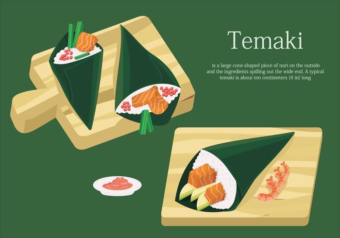 Temaki Sushi en la tabla Ilustración vectorial de comida japonesa