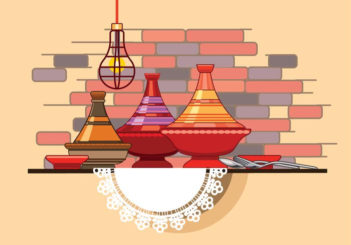Moroccan Tajine Collection with Spoon and Fork in Front of Restaurant Wall