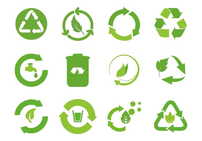 Recycled Cycle Icons Vector