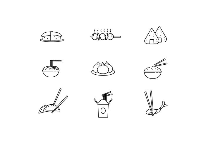 Icon Pack of Asian Dishes
