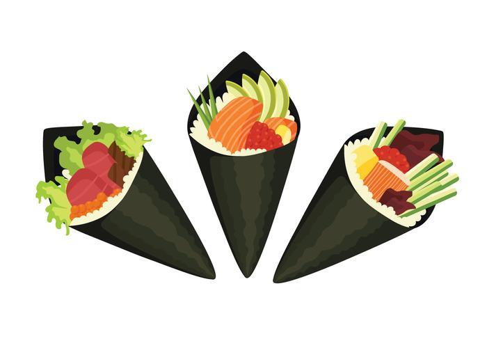 Variations de sushi temaki vecteur