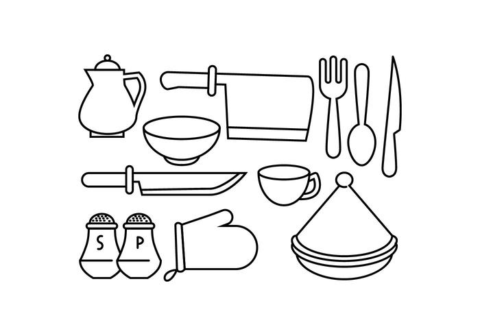 Free Kitchen Line Icon Vector