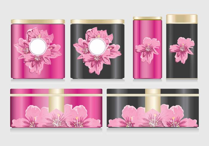 Flowers on Tin Box Mockup Vector