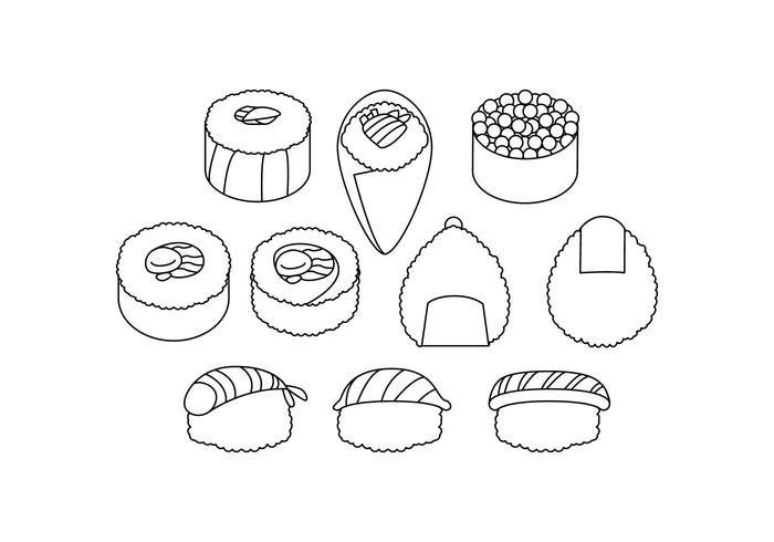 Vecteur japonais gratuit d'icônes alimentaires