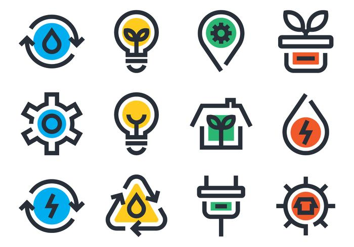 Ekologi ikonuppsättning